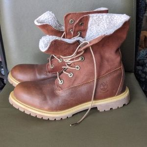 Timberland Teddy Fleece Fold Down Boots Womens 9